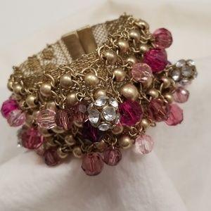 Jewelry - Bracelet pink, purple, rhinestone and gold